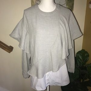 Zara mixed medium ruffle blouse gray blue stripe M
